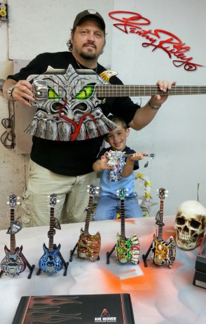 Gentry Riley and His Son with Custom Miniature Guitar Replicas by AXE HEAVEN®