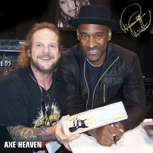 Marcus Miller Autographs Officially Licensed Fender™ by AXE HEAVEN® Minature Replica Collectible Version of the Fender™ Marcus Miller Signature Jazz Bass™ Olympic White