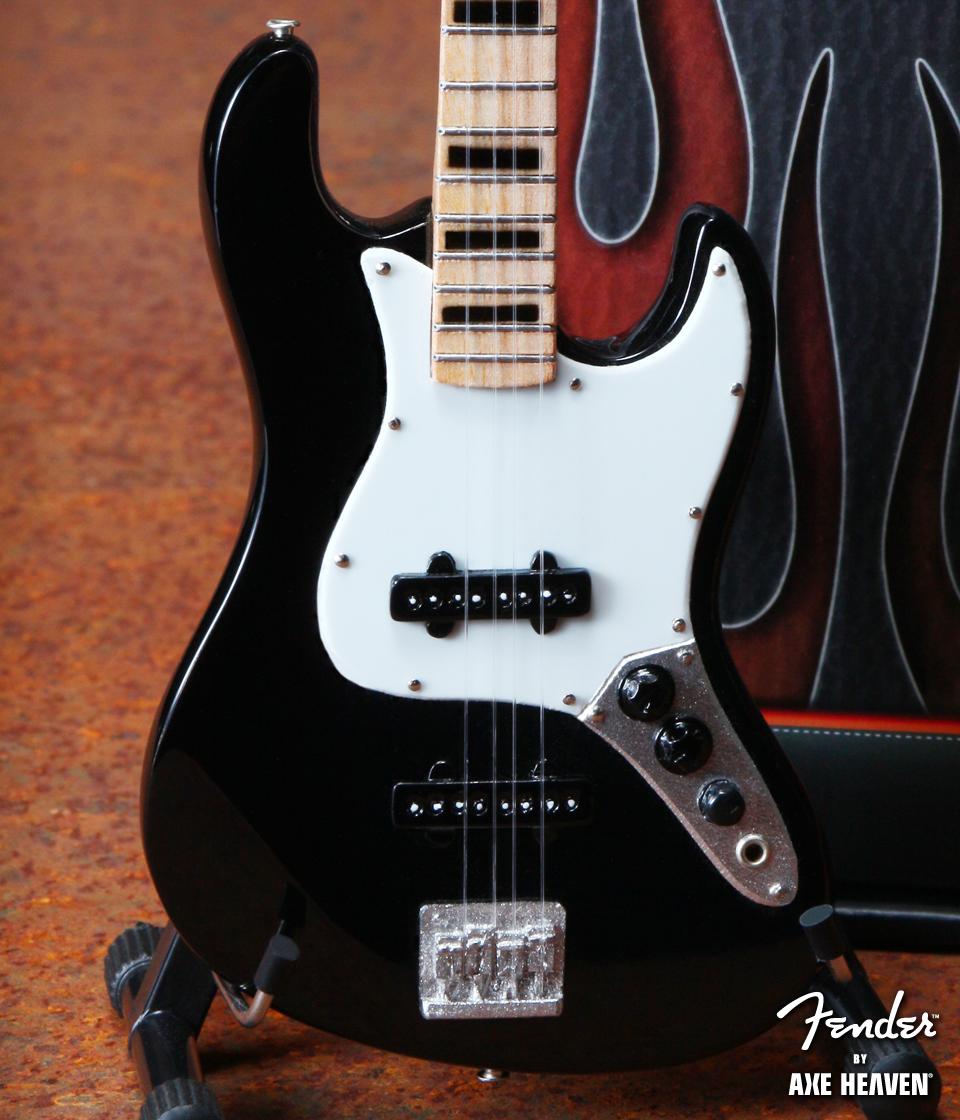 Officially Licensed Miniature Black Fender™ Jazz Bass™ Guitar Replica – Black Inlays
