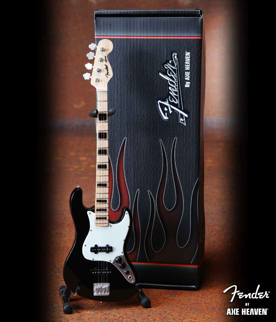 Officially Licensed Miniature Black Fender™ Jazz Bass™ Guitar Replica – Black Inlays