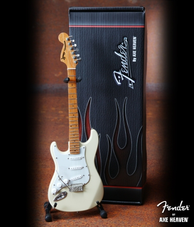 Officially Licensed Mini Cream Reverse Headstock Fender™ Strat™ Guitar Replica
