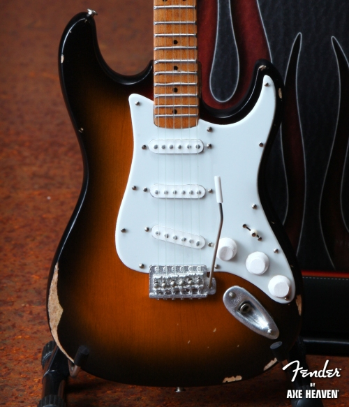 Officially Licensed Miniature Sunburst Road Worn™ Fender™ Strat™ Guitar Replica