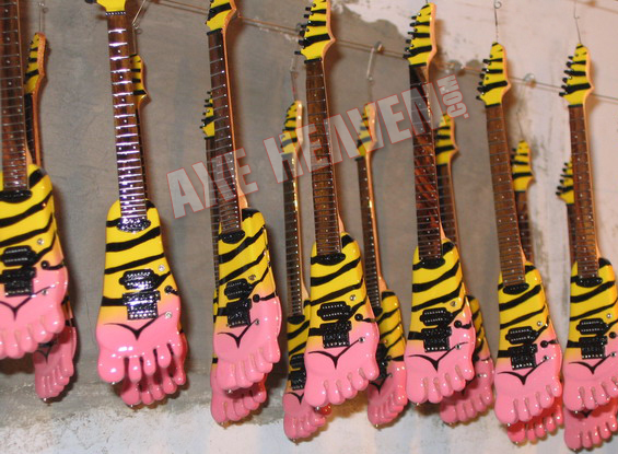 Bumblefoot miniature guitars in AXE HEAVEN® drying facility.