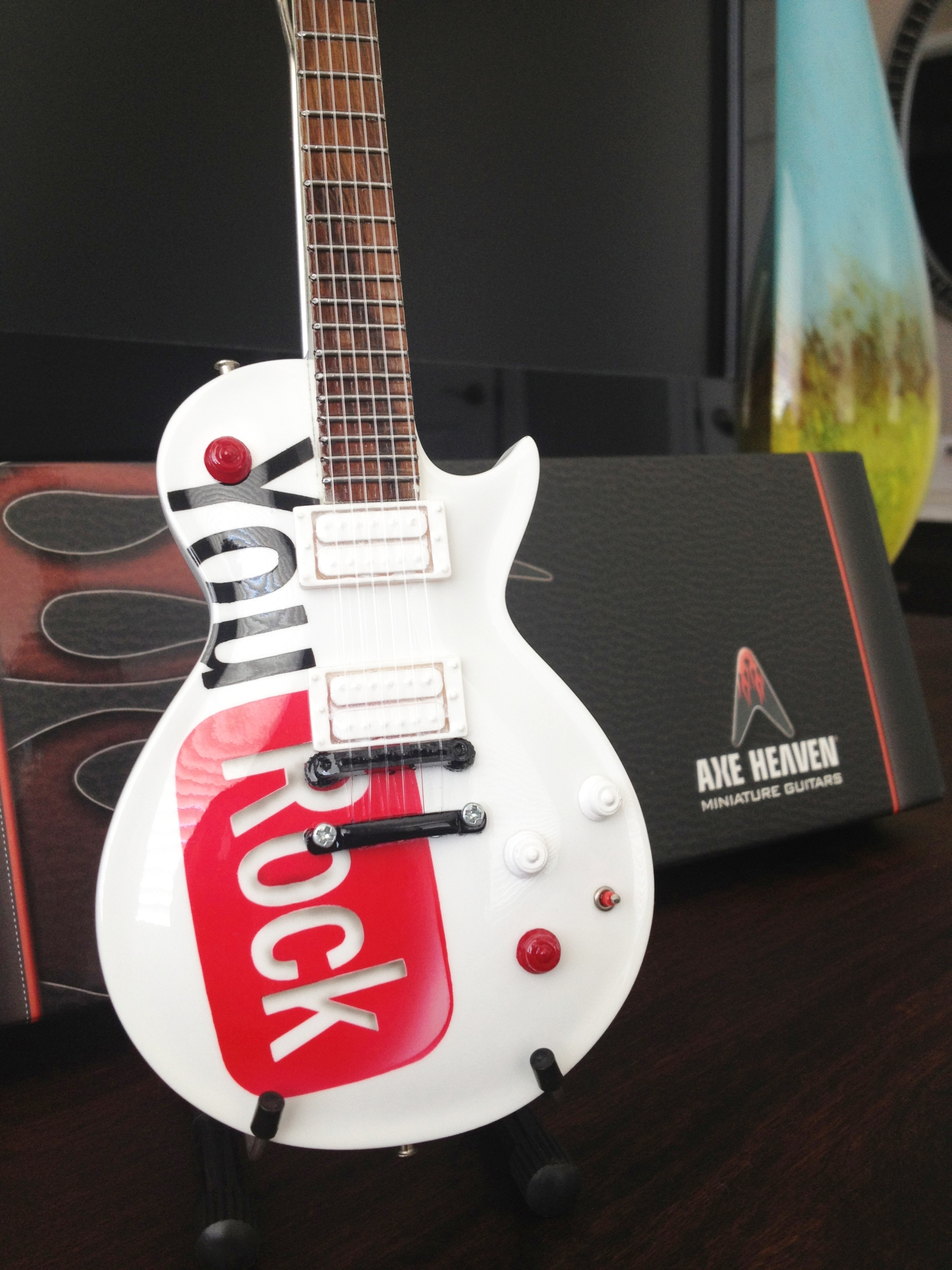 Google YouRock Employee Award Mini Guitar with Miniature Guitar Stand