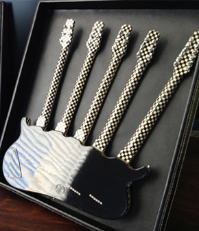 Each Five-Neck Checkered Miniature Guitar is Hand-Finished to a High Gloss