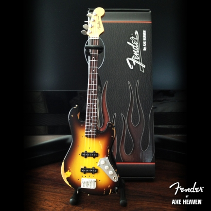 Officially Licensed Mini Custom Shop Sunburst Fender™ Jazz Bass™ Guitar - Distressed & Vintage Relic