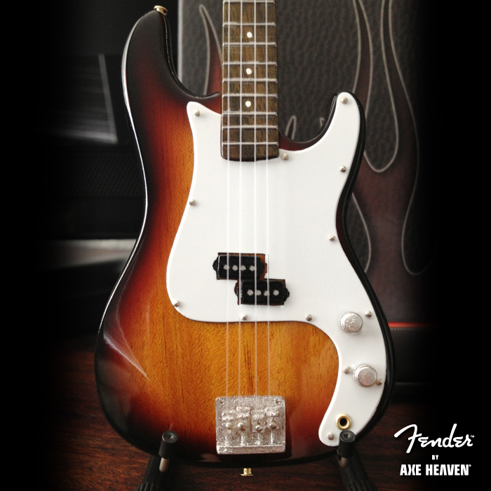 Close-Up of Officially Licensed Miniature Classic Sunburst Fender™ Precision Bass™ Guitar