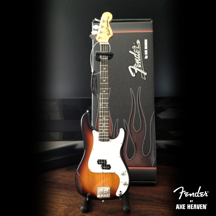 Stand & Gift Box Included with Back of Officially Licensed Miniature Classic Sunburst Fender™ Precision Bass™ Guitar