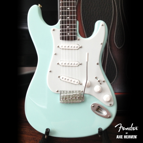 Officially Licensed Miniature Surf Green Fender™ Stratocaster™ Guitar Replica