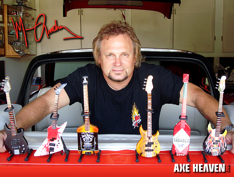 Michael Anthony with Collection of Licensed Miniature Bass Guitars by AXE HEAVEN®