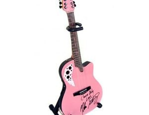 Stand Included with Melissa Etheridge Custom Pink Miniature Replica Adamas Signature Ovation Guitar