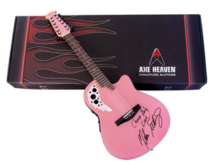 Guitar-Case Box included with Melissa Etheridge Custom Pink Miniature Replica Adamas Signature Ovation Guitar