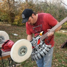 Gentry Riley Brushing One of His Custom Guitars