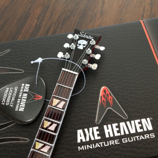 Headstock of Zacky Vengeance Custom Promotional Miniature Guitar by AXE HEAVEN® - Hand-Crafted with Extraordinary Detail