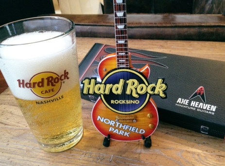 Hard Rock Rocksino Northfield Park Custom Promotional Miniature Guitar with Stand by AXE HEAVEN®