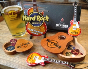 Hard Rock Rocksino Northfield Park Custom Promotional Miniature Guitar and Hard Rock Cafe Mini Guitar Ornaments and Pick Box Holders by AXE HEAVEN®