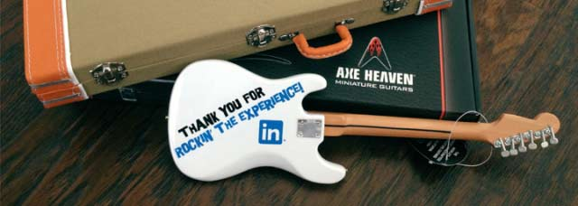 LinkedIn Custom Promotional Miniature Guitar by AXE HEAVEN®