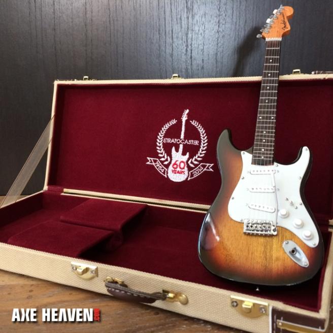 Mini FENDER™ Sunburst Strat Guitar & 60th Anniversary Case Set Collection