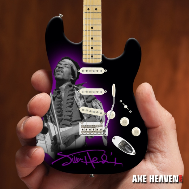 Officially Licensed Jimi Hendrix Mini Fender™ Strat™ Tribute Guitar Model by AXE HEAVEN®
