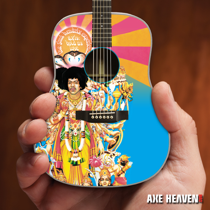 Officially Licensed Jimi Hendrix AXIS Bold As Love Mini Acoustic Guitar Model by AXE HEAVEN®