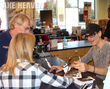 Steve Vai at Meet & Greet Signs Signature White JEM Miniature Guitar Replica Collectibles by AXE HEAVEN®