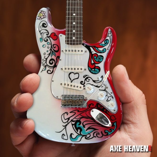 Officially Licensed Jimi Hendrix Mini Fender™ Strat™ Monterey Guitar Model by AXE HEAVEN®