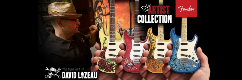 Officially Licensed David Lozeau Mini Fender™ Strat™ Guitar Collection by AXE HEAVEN