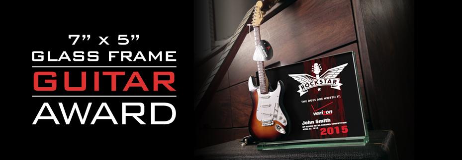 ROCKSTAR Award: 7-inch x 5-inch Glass Frame with Mini Guitar