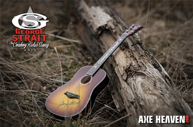 "George Strait ""The Cowboy Rides Away"" VIP Meet & Greet Giveaway Custom Promotional Miniature Guitar by AXE HEAVEN®"
