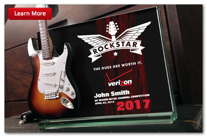Mini Guitar Trophy & Awards are great for custom corporate awards and employee recognition ROCKSTAR awards.
