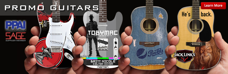 AXE HEAVEN® is proud to be a PPAI and SAGE supplier member. We offer a wide range of handmade promotional miniature guitar products, including mini guitar awards, miniature guitar ornaments, and mini guitar keychains.