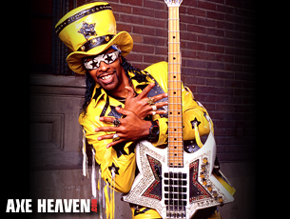 Bootsy Collins Holding Original Space Bass Guitar