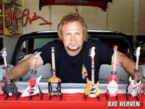 Michael Anthony Displaying Collection of Licensed Miniature Bass Guitars by AXE HEAVEN® (and another one of his cool cars!)