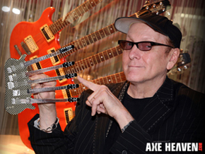 Rick Nielsen Holding Officially Licensed Checkered Five-Neck Miniature Guitar Replica Collectible by AXE HEAVEN®