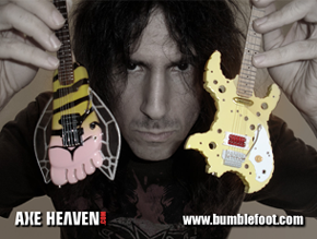Ron Thal Holding Licensed Miniature Bumblefoot and Swiss Cheese Guitars by AXE HEAVEN®