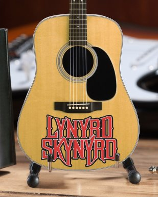 Lynyrd Skynyrd Logo Natural Finish Acoustic Mini Guitar – Officially Licensed