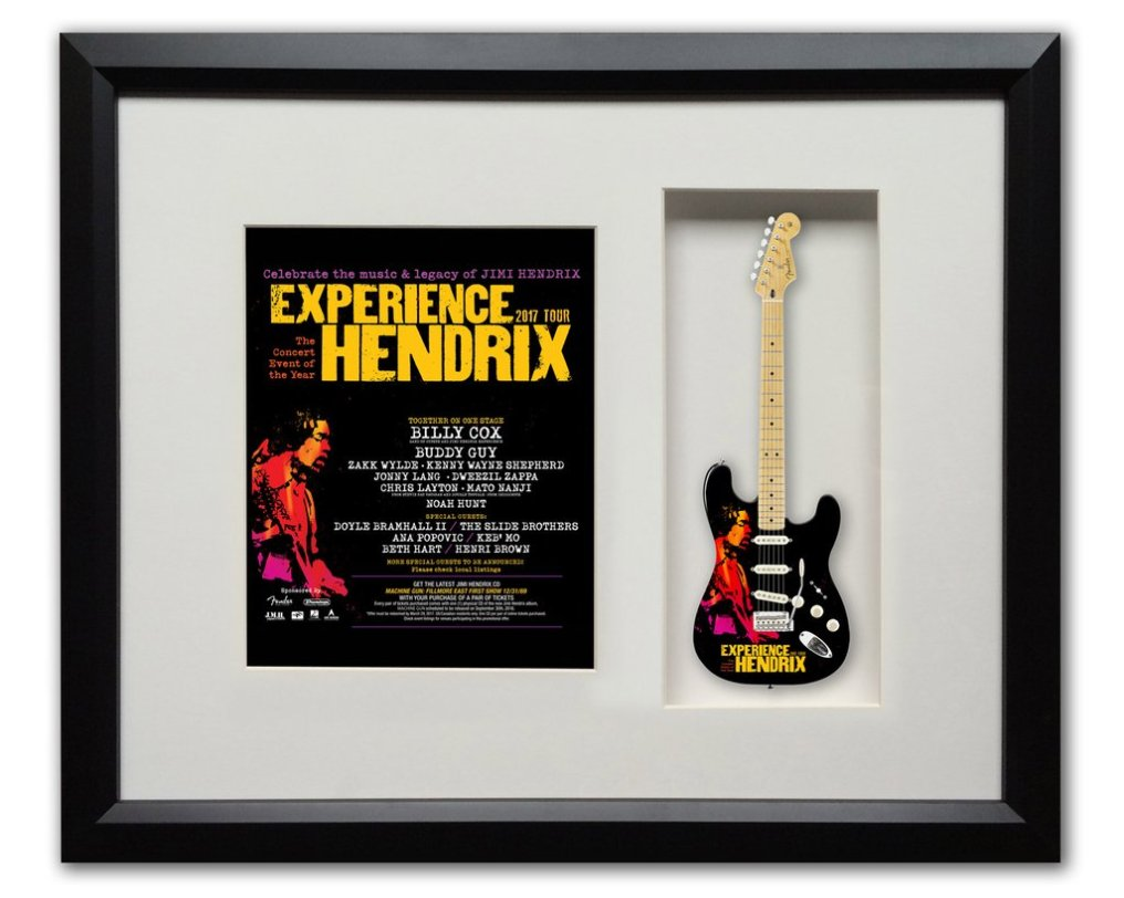 Limited Edition 22″ x 19″ 2017 Experience Hendrix Tour Framed Shadow Box with Strat™ Mini Guitar