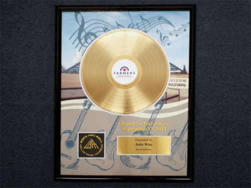 "Gold Record Award - Farmers Insurance & the Rock and Roll Hall of Fame - 12"" Deluxe"