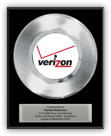 Platinum Record Award for Verizon - Classic 7""