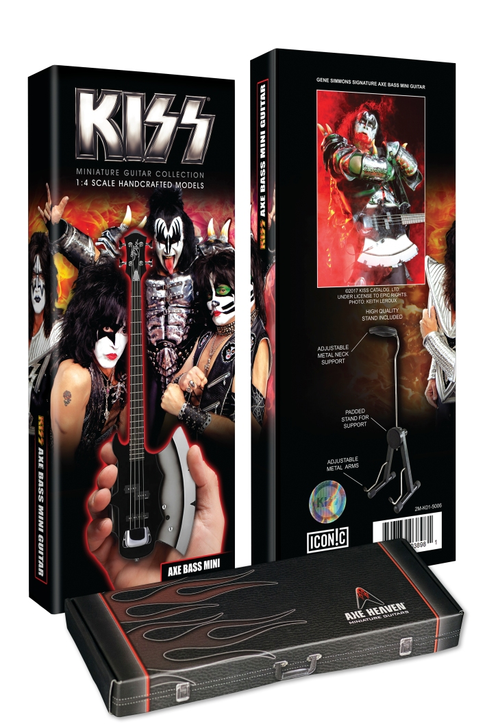 Custom Package for Officially Licensed KISS® Gene Simmons Signature AXE Bass Mini Guitar