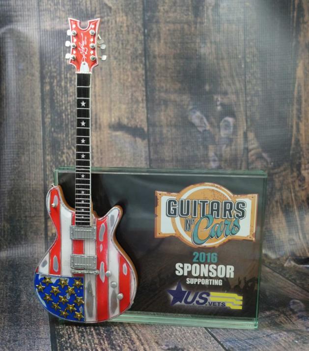 """Guitars N' Cars 7"""" x 5"""" Glass Frame Award with 10"""" Custom Stars & Stripes Mini Guitar by AXE HEAVEN®"""