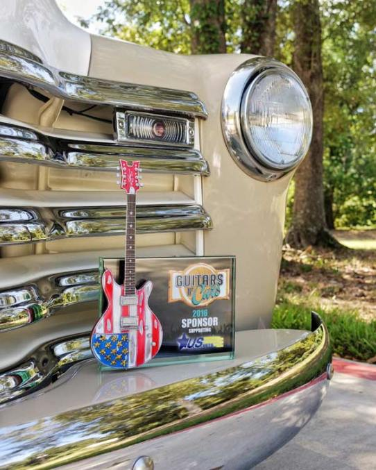 "Guitars N' Cars 7"" x 5"" Glass Frame Award with 10"" Custom Stars & Stripes Mini Guitar by AXE HEAVEN®"