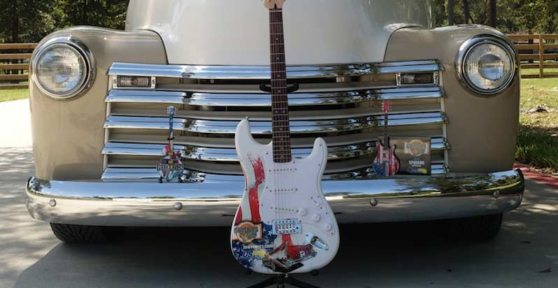 Classic pickup truck with Guitars N' Cars' real promo Fender™ guitar, 10