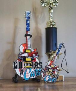 "Guitars N' Cars 10"" Custom Promotional Mini Guitar and 6"" Custom Promo Mini Guitar Ornament by AXE HEAVEN®"
