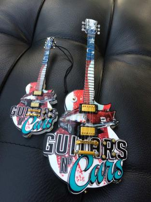 "Guitars N' Cars 6"" Custom Promo Mini Guitar Ornament and 10"" Custom Promotional Mini Guitar by AXE HEAVEN®"