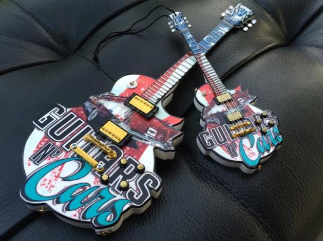 """Guitars N' Cars 10"""" Custom Promotional Mini Guitar and 6"""" Custom Promo Mini Guitar Ornament by AXE HEAVEN®"""