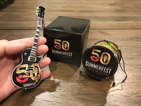 """Custom Promotional 6"""" Mini Guitar and 2.5"""" Bass Drum Holiday Ornaments for Milwaukee Summerfest 50th Anniversary"""