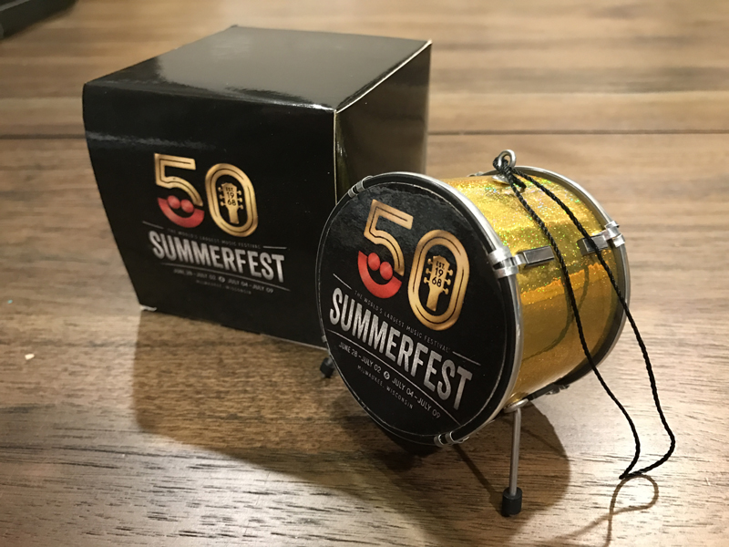 "Custom Promotional 2.5"" Bass Drum Holiday Ornament and Gift Box for Milwaukee Summerfest 50th Anniversary"