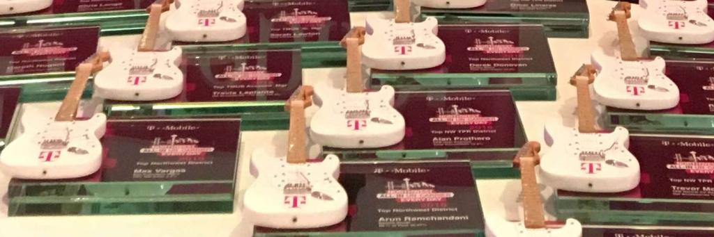 T-Mobile Glass Rockstar Awards with Promo Miniature Guitar