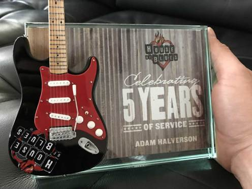 House of Blues Rockstar Award with Custom Promo Mini Guitar by AXE HEAVEN®